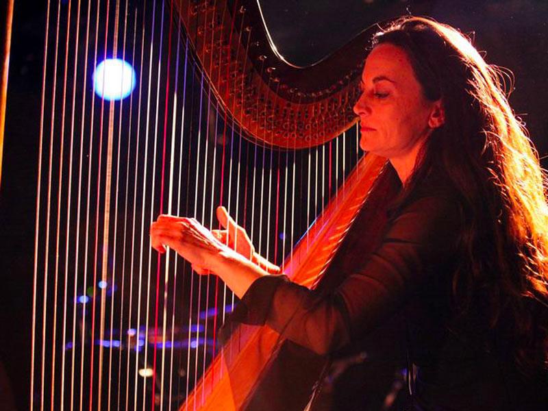 harpiste lancement de produits en musique