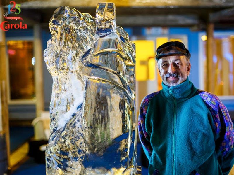 sculpteur glace animation commerciale anniversaire